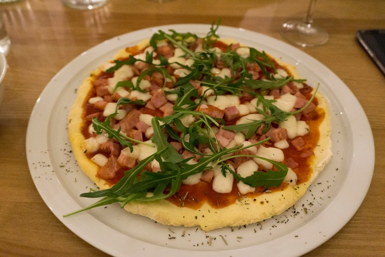Gluten free goat cheese and ham pizza from My Free Kitchen in Paris