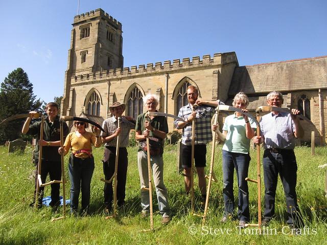 Austrian scythe course at St John's Church, Ripon, N Yorkshire