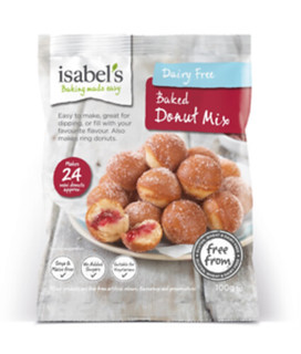 Isabel's gluten free baked donut mix packaging