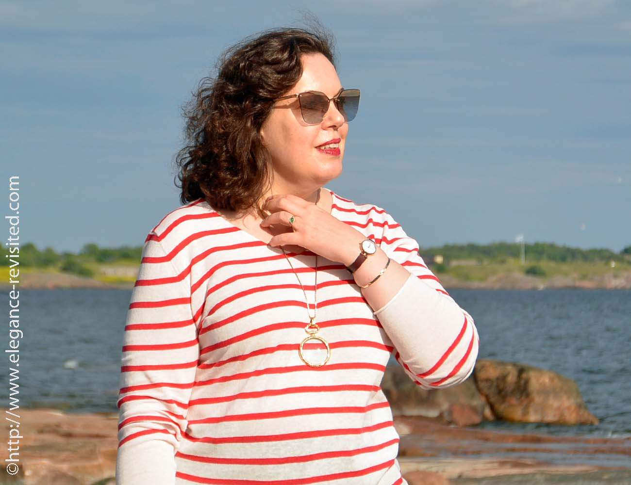 casual striped top over 40