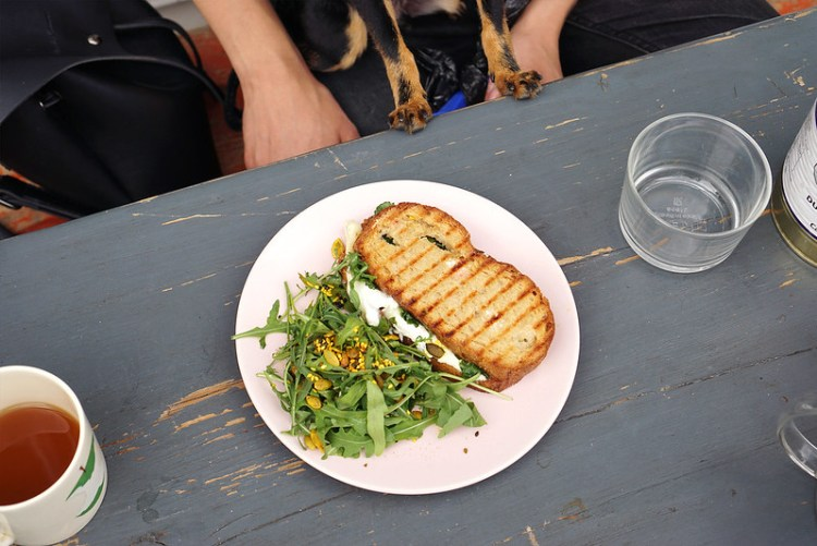 Gluten free goat cheese and harrissa sandwich with rocket salad from Pearl and Groove in Notting Hill | Gluten free Notting Hill guide | Kensington | Portobello Market | Ladbroke Grove | Bayswater | West London | Gluten free bakery and cafe | Gluten free London