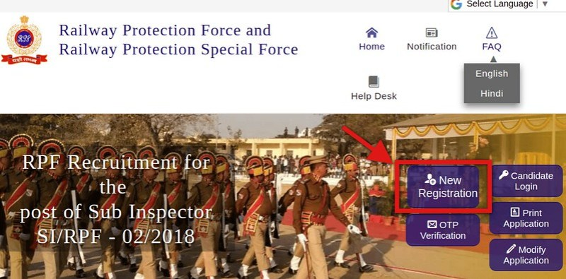 RPF SI Home page, click here for New Registration Tab