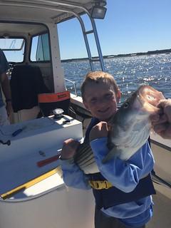 Photo of a boy holding a nice striped bass