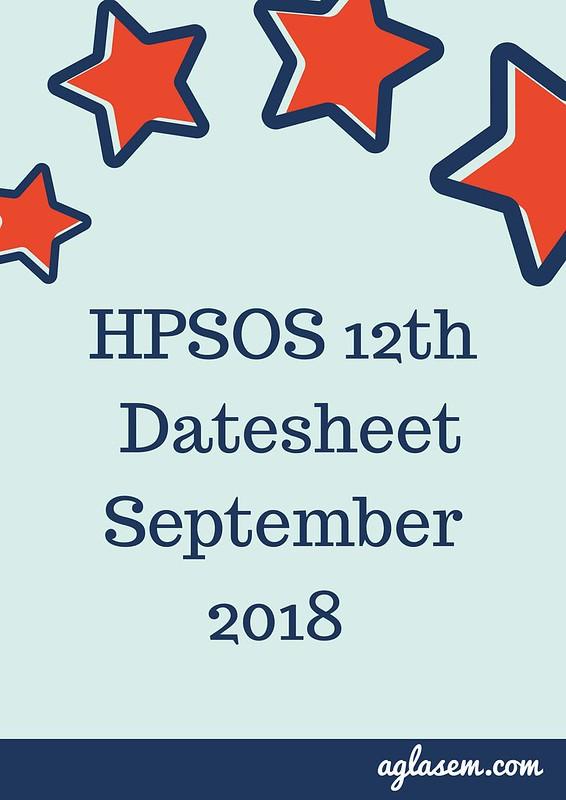 HPSOS 12th Date Sheet September 2018