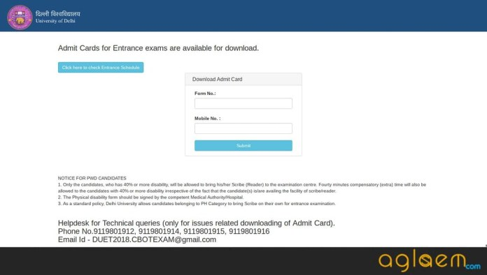 DU LLB | LLM 2019 Admit Card