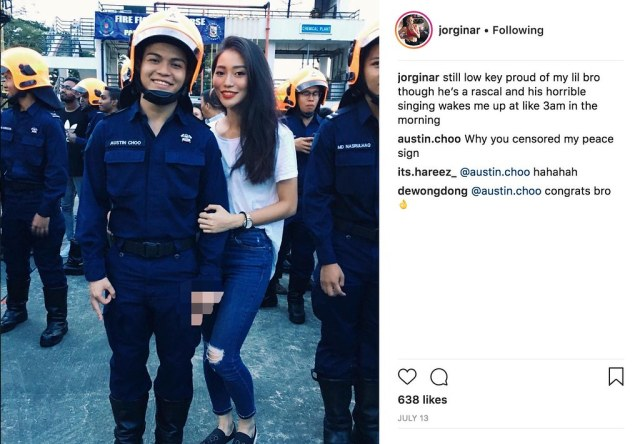 13fd22aebdce Gorgina is not the only one in the family who is contributing to  Singapore's total defence, in one of her instagram post, her brother is  seen geared up as a ...