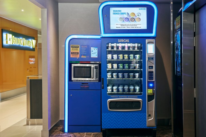 Get a hot meal from the Saybons Hugo vending machine, which is serviced 24/7. The cooked food from this machine comes from Saybons's central kitchen and contains no preservatives. Photo: Golden Village