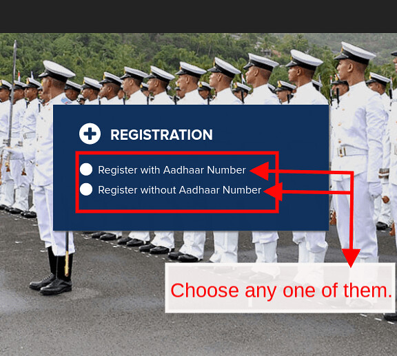 Indian Navy SSR Application Form - Login page