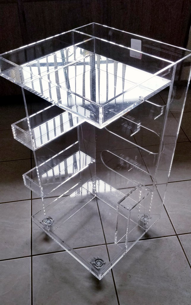 SCORE Home Goods Clear Acrylic Rolling Cart Craft Organi
