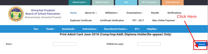 HPBOSE 10th Compartment Admit Card 2018