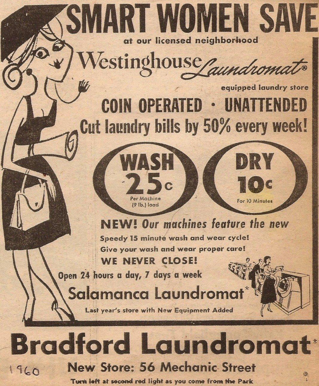 Bradford Laundromat - 56 Mechanic Street, Bradford Pennsylvania U.S.A. - 1960