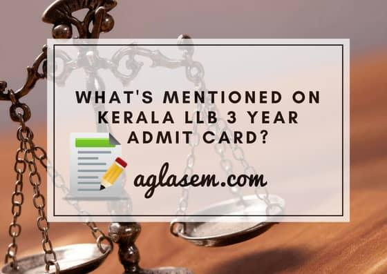 Kerala LLB 3 Year 2019 Admit Card