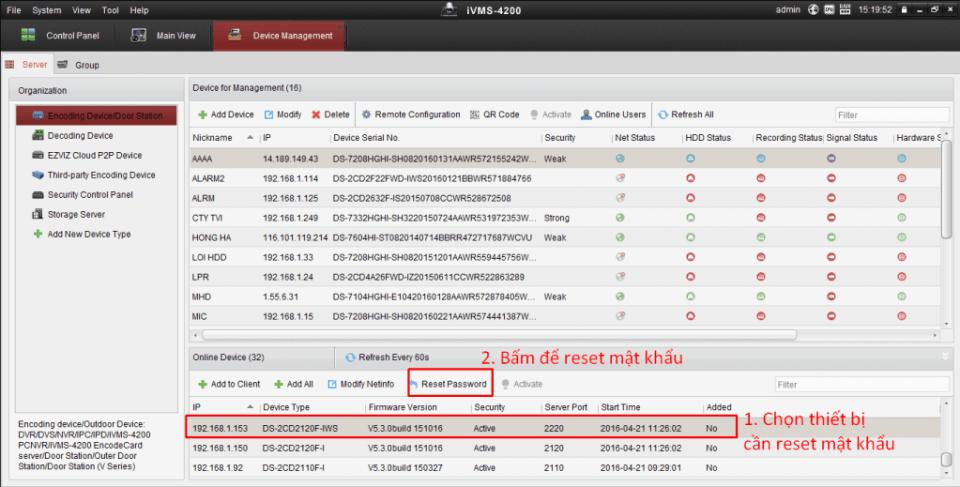 Dùng phần mêm ivms-4200 để Reset mật khẩu HIKVision