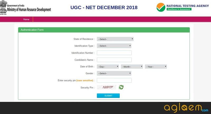 Authentication Page of UGC NET Dec 2018