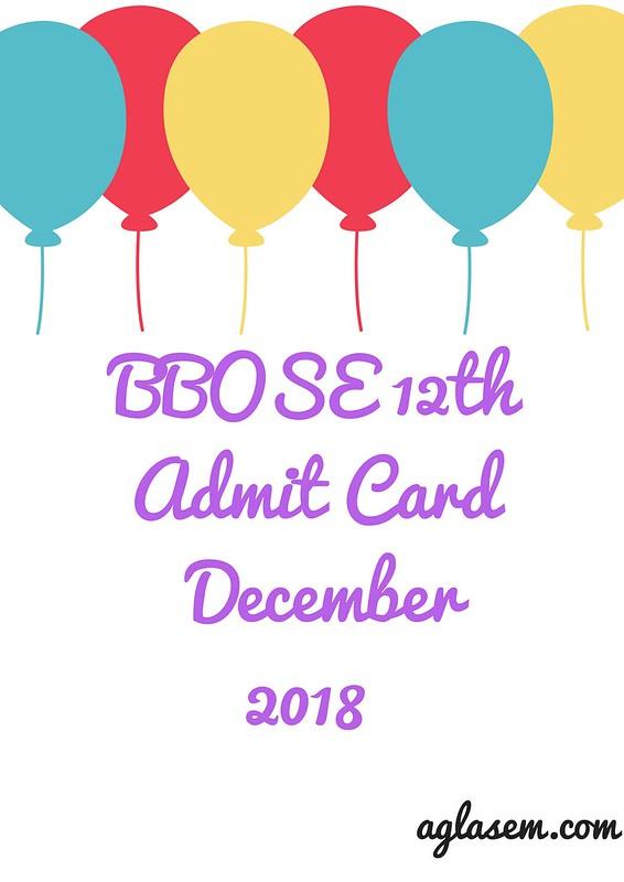 BBOSE 12th Admit Card December 2018