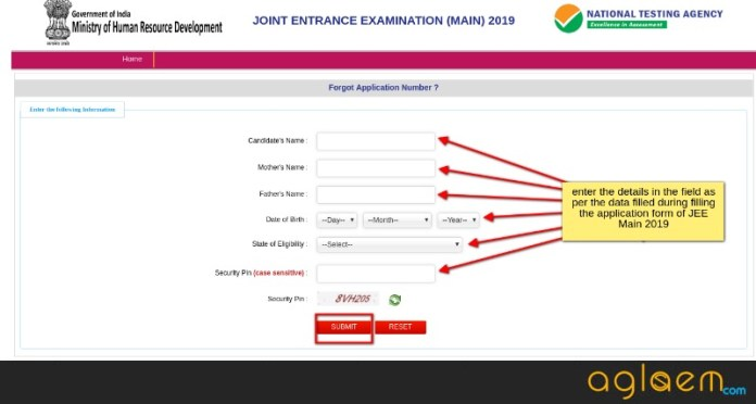 JEE Main Forget Application Number Login