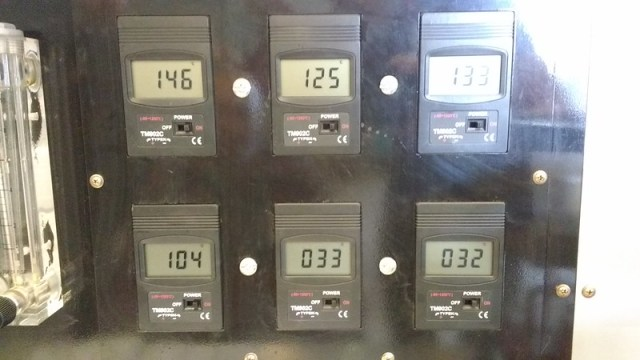 temperature readings on the yeomans carbon still