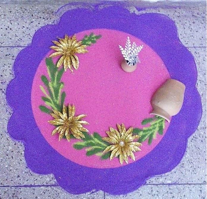 ganesh rangoli design with dots
