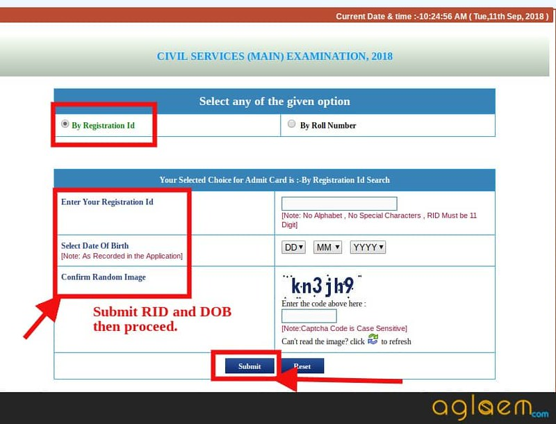 Downloading admit card with help of Registration ID