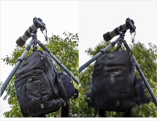 Een tas gebruiken om het statief te verzwaren, zodat het stabieler blijft staan. Maar pas op dat de tas niet in de wind gaat bewegen, want deze beweging zorgt ervoor dat het statief niet langer stabiel staat.
