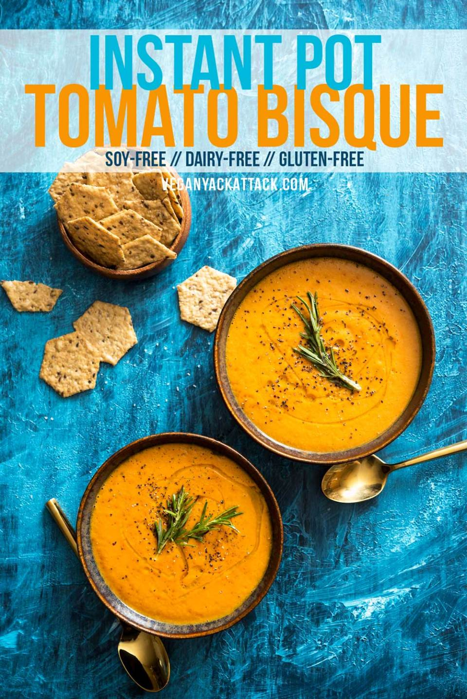 This Instant Pot tomato bisque is a great way to use up a few pound of tomatoes to make a rich and delicious dinner. Vegan, Gluten-free, Soy-free