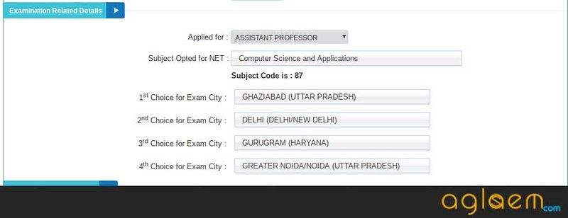 Examination Details in Application Form