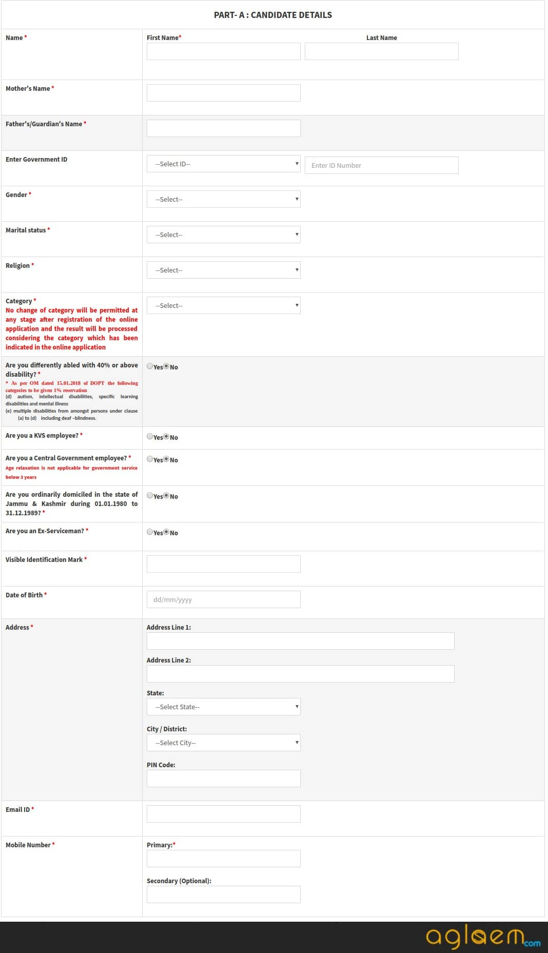 Part A of Application Form