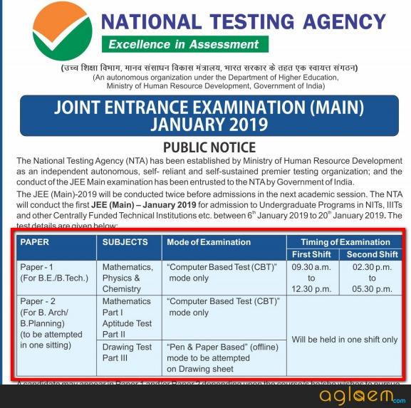 NTA JEE Main 2019 Paper 2