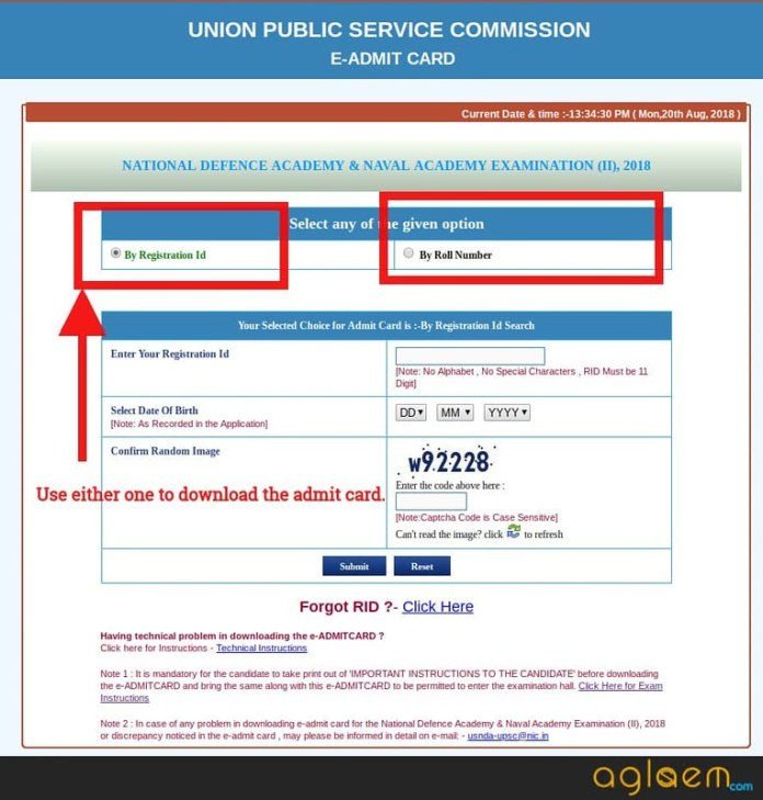 Options to download the admit card