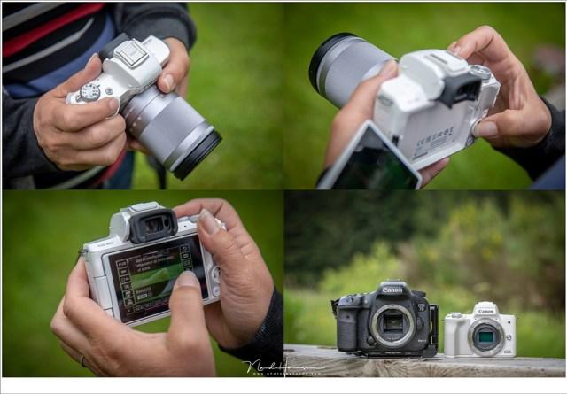 Een impressie van de EOS M50 in de hand, en naast de EOS 7D mark II (die een sensor met dezelfde afmetingen heeft.
