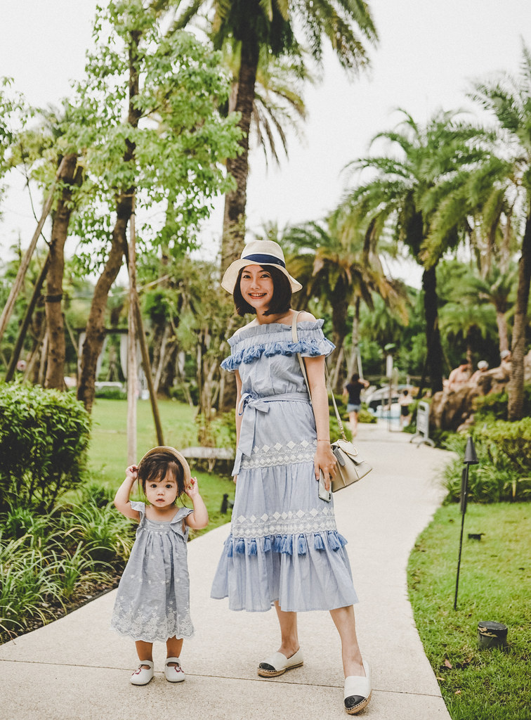 ▌Outfit ▌ 周末親子裝,大溪Westin + 向陽農場:Tularosa洋裝 + Yuzefi mini Delila + Tory Burch草編鞋