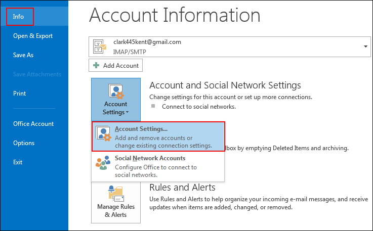 Mở Account Setting Trong Outlook