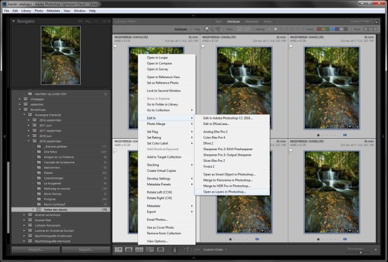 Stap 2 - Open de selectie foto's als lagen in Photoshop. Zo hoef je niet zelf alle foto's als lagen op elkaar te stapelen