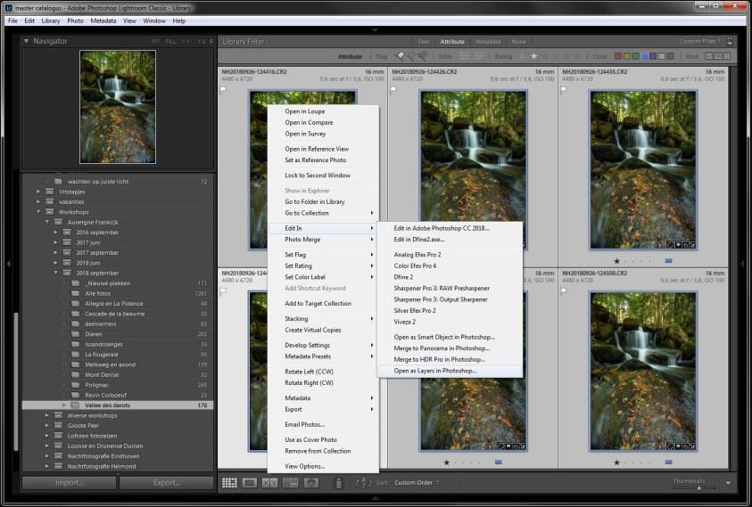 Stap 2 Focusstacking - Open de selectie foto's als lagen in Photoshop. Zo hoef je niet zelf alle foto's als lagen op elkaar te stapelen