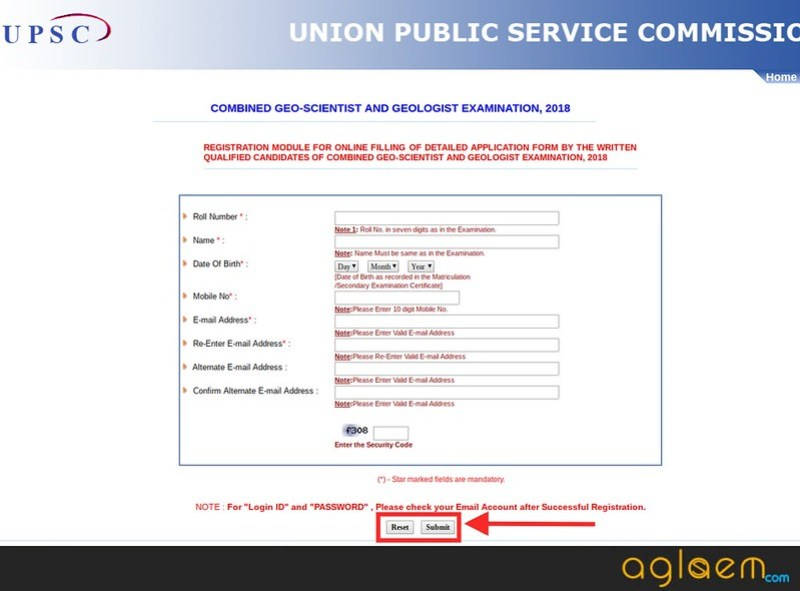 Registration page for Combined Geologist & Geo scientist