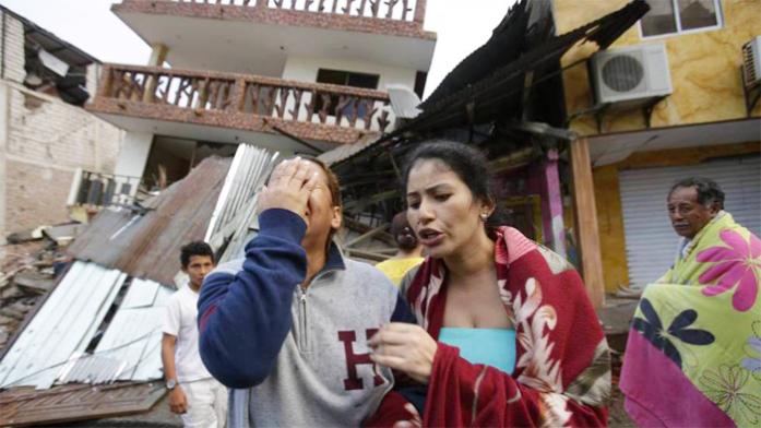 Afectados por el terremoto en Manabí, Ecuador.