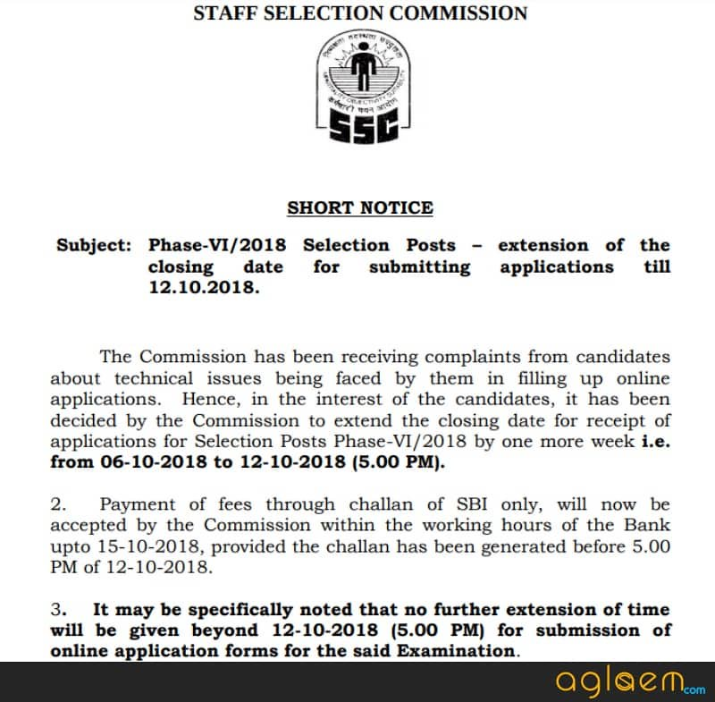 SSC Phase VI / 2018 for 1141 Post