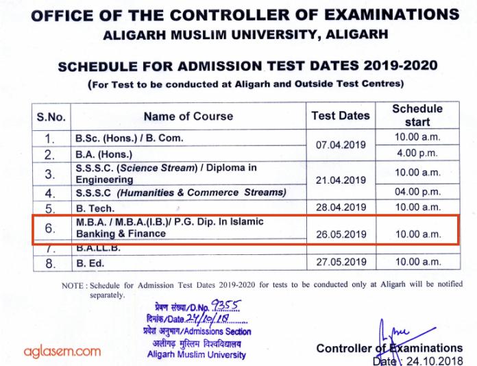 AMU MBA 2019 Exam Date