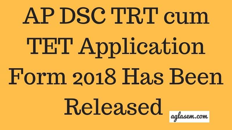 AP DSC TET cum TRT Application Form