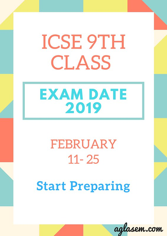 ICSE class 9 Board Exam Time Table 2019