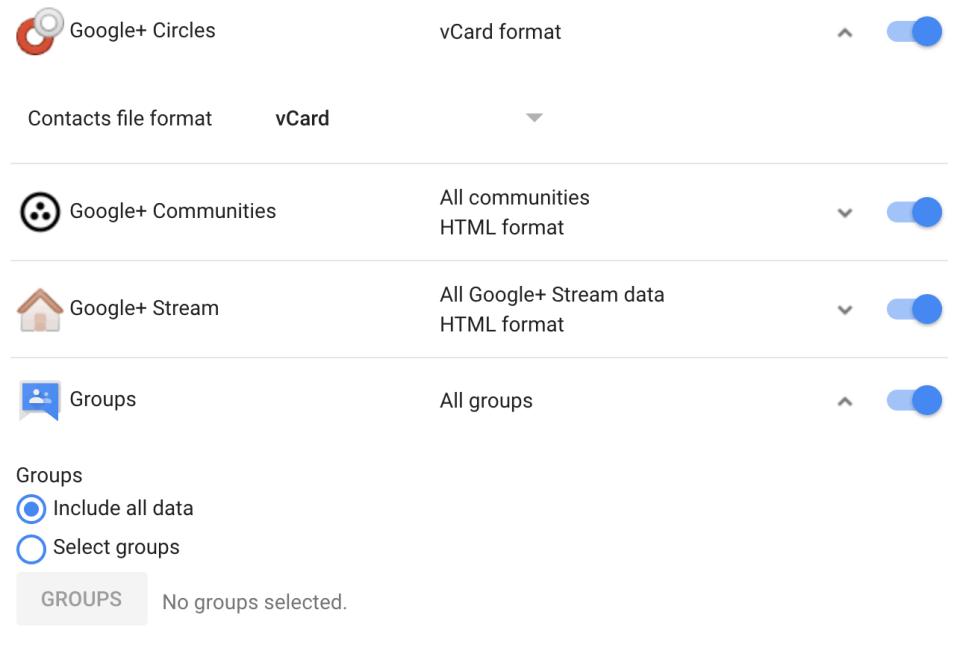 sao lưu dữ liệu từ google+