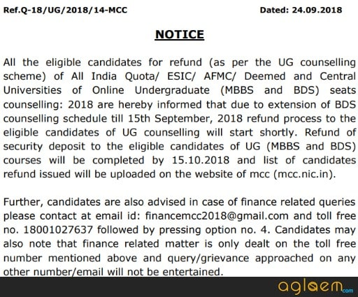 MCC To Complete NEET Refund Process By 15 October