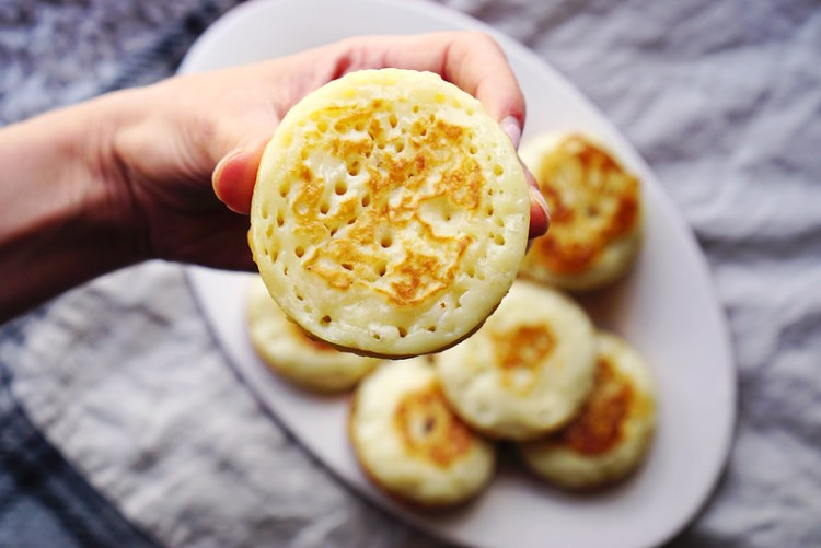 Homemade gluten free crumpets