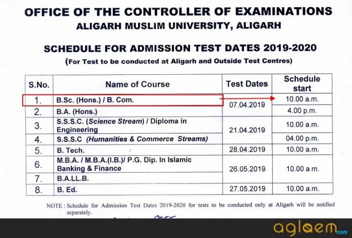 AMU BSc Exam Date 2019