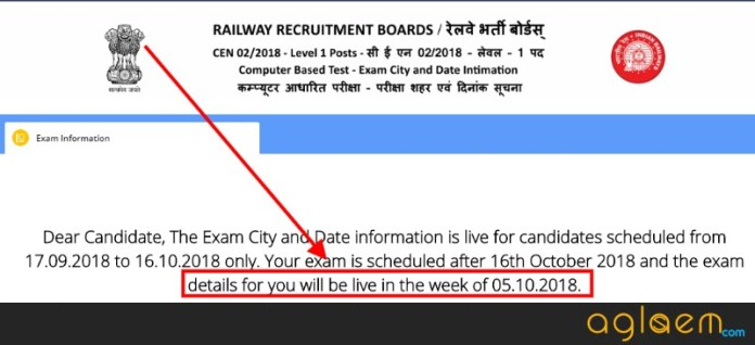 RRB Group D Exam Date, City 2018