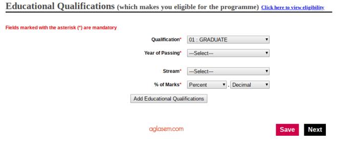 IGNOU OPENMAT 2019 Form Educational Details