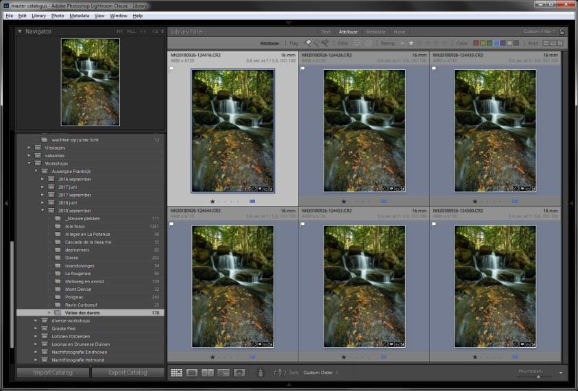 Stap 1 focusstacking = zorg dat de serie foto's allemaal exact hetzelfde bewerkt zijn. Elke foto in deze serie heeft het scherpstelpunt op een andere plek liggen.