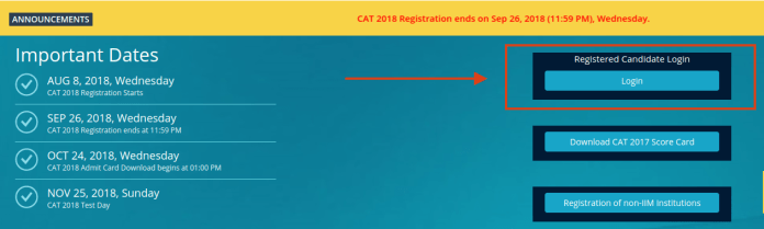 CAT 2018 Admit Card Login