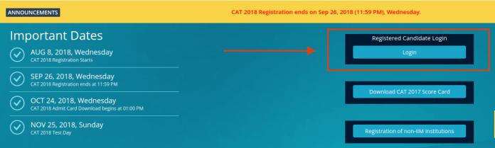 CAT 2018 Admit Card Login
