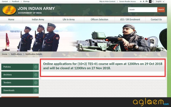 Indian Army TES 41 (Aug 2019) Application Dates